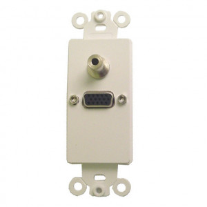 High Density DB-15 and 3.5mm Feed Thru Jack with White Plastic Insert Plate