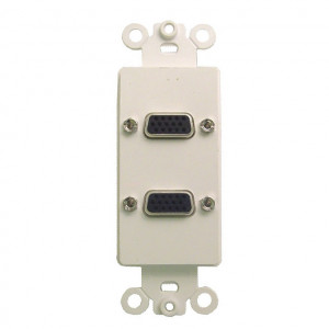 Dual High Density DB-15 Gold Plated Feed Thru Jacks with White Plastic Insert Plate