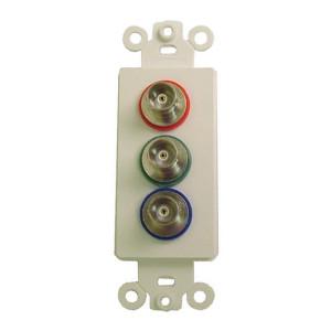 HDTV/ RGB Video Feed Thru Jacks with White Plastic Insert Plate