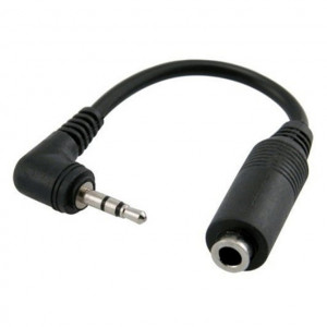 Right Angle 3.5mm Stereo Jack to 2.5mm Stereo Plug Adapter with Plastic Body, 3 In. Long