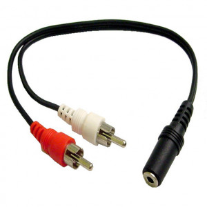"""""""Y"""" Cable, 3.5mm Mono Jack to Two RCA Plugs"""