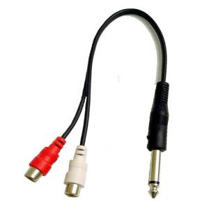 """""""Y"""" Cable, 1/4"""" Mono Plug to Two RCA Jacks"""