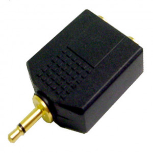 "Gold Plated ""Y"" Adapter, 3.5mm Mono Plug to Two 1/4"" Mono Jacks"