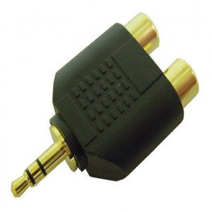 "Gold Plated ""Y"" Adapter, 3.5mm Stereo Plug to Two RCA Jacks"