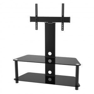 "Elegant Stand with TV Mount & 2 Glass Shelves, Fits 37""-65"""