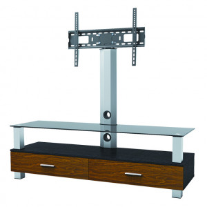 "Elegant Stand with TV Mount & 1 Wood, 1 Glass Shelve, Fits 37""-65"""