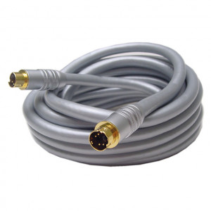 SVHS Male to SVHS Male High Quality Silver Cable with Gold Plugs, 8mm 100 Ft. Long