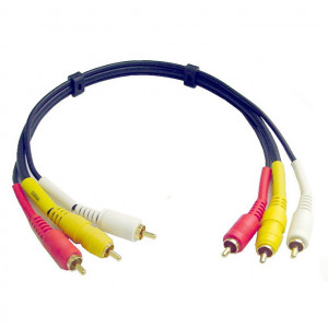 Audio Video Interface Molded Dubbing Cable, Gold Plated 6 Ft. Long