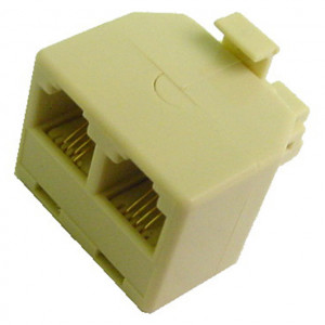 Ivory Modular T Adapter, 6 Wire Plug to Dual 6 Wire Jacks