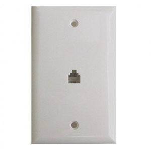 White Flush Mount Single 6 Wire Jack Modular Wall Plate