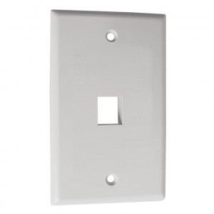 4 Port Cavity, White Keystone Wall Plate