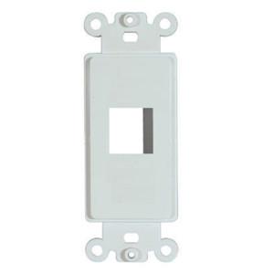 1 Port Cavity, White Designer Style Keystone Wall Plate Insert