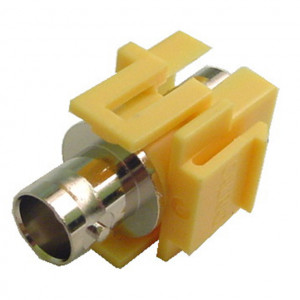 75 Ohm BNC Feed-Thru Yellow Recessed Keystone Insert, Nickel Plated