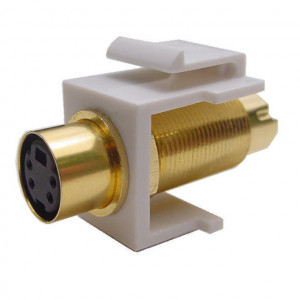 SVHS Female to Male Feed-Thru Keystone Insert, Gold Plated