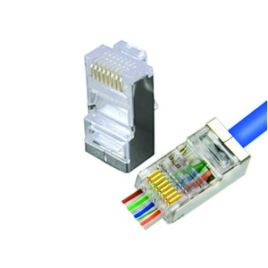 10PK Shielded Pass Through RJ45 Cat5e Connectors