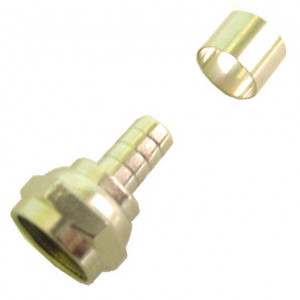 Gold 2 Piece Crimp Connector for RG59 Cable, Gold Plated