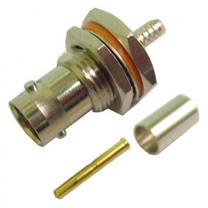 """BNC Female Chassis Mount for RG-174U, Mounts in 1/2 in. """"D"""" Hole, 75 Ohm"""