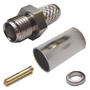 SMA Female Crimp-On Connector for RG-59/62 with Gold Plated Contacts