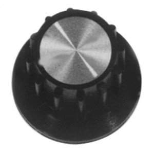 """1"""" Dia. Black Bakelite Knob, Aluminum Insert with Fluted Grip"""