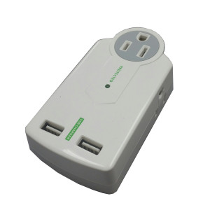 AC 3 Outlet 1 x Surge Protector Wall Tap with 2 USB Ports (Front View)
