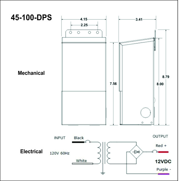 45-100-DPS, Basic Mechanical and Electrical Drawings