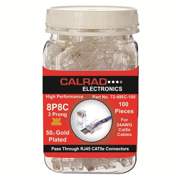 72-495C-100, Clear Plastic Container with Pass Through RJ45 Cat5e Connectors