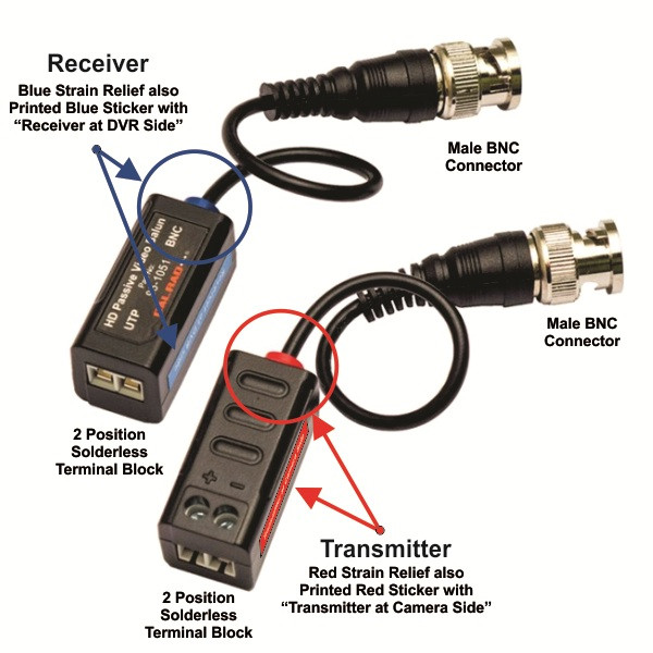 Passive Hd Single Channel Video Balun Cvi Tvi Analog Video With 3 Pigtail Sold In Pairs